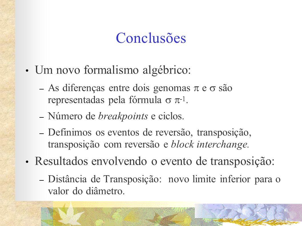 Conclusões Um novo formalismo algébrico: – As diferenças entre dois genomas e são representadas pela fórmula -1. – Número de breakpoints e ciclos. – D