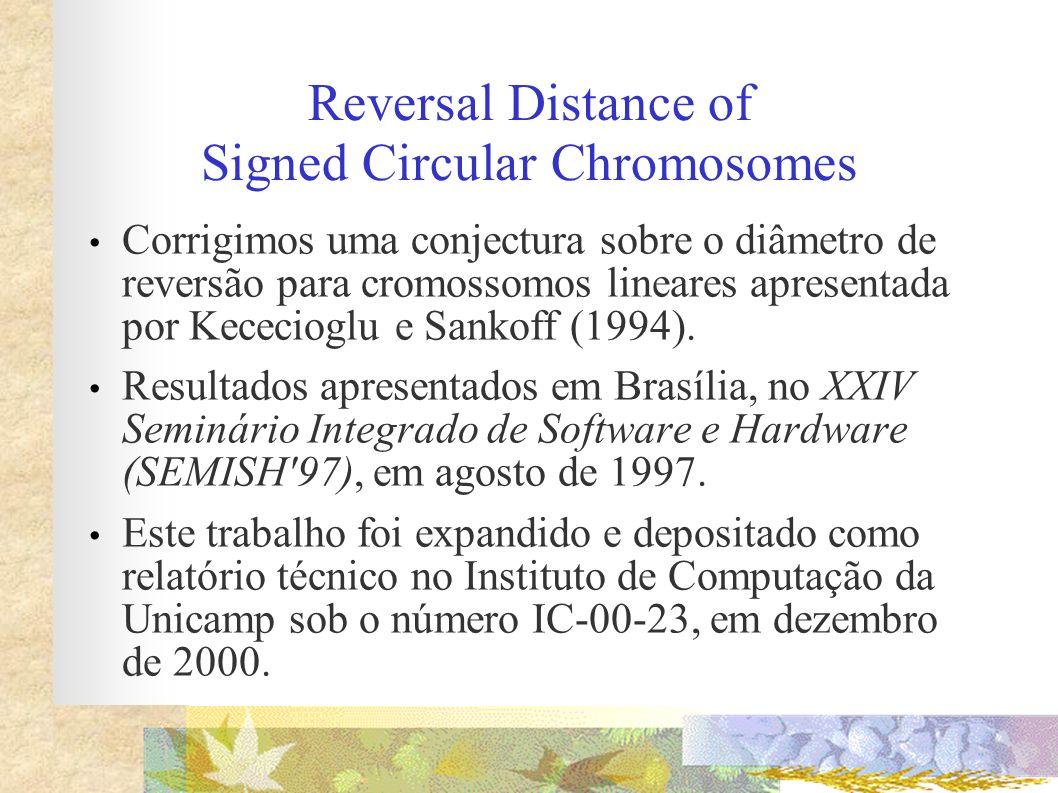Reversal Distance of Signed Circular Chromosomes Corrigimos uma conjectura sobre o diâmetro de reversão para cromossomos lineares apresentada por Kece