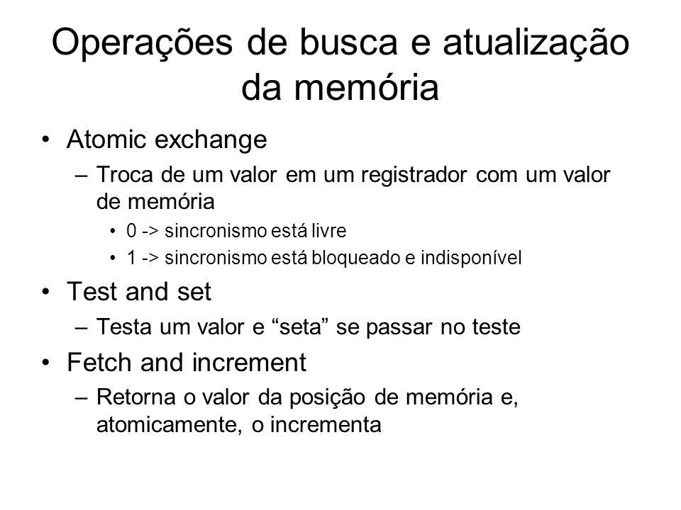 Operações de busca e atualização da memória Atomic exchange –Troca de um valor em um registrador com um valor de memória 0 -> sincronismo está livre 1