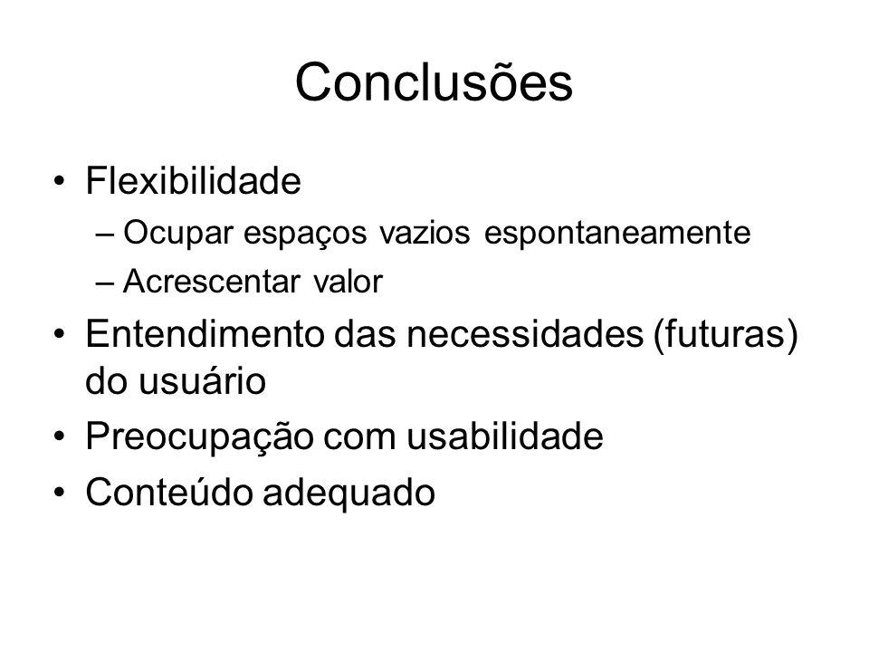 Conclusões Flexibilidade –Ocupar espaços vazios espontaneamente –Acrescentar valor Entendimento das necessidades (futuras) do usuário Preocupação com