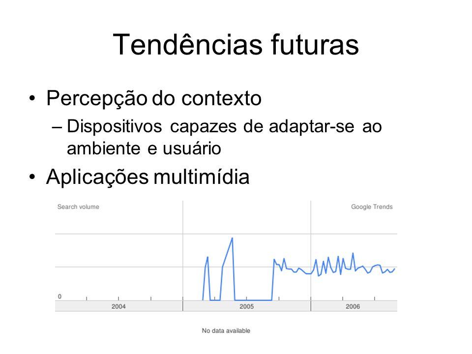 Tendências futuras Percepção do contexto –Dispositivos capazes de adaptar-se ao ambiente e usuário Aplicações multimídia