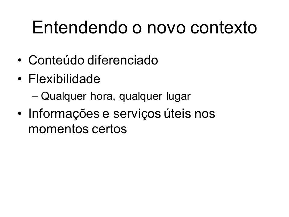 Entendendo o novo contexto Conteúdo diferenciado Flexibilidade –Qualquer hora, qualquer lugar Informações e serviços úteis nos momentos certos