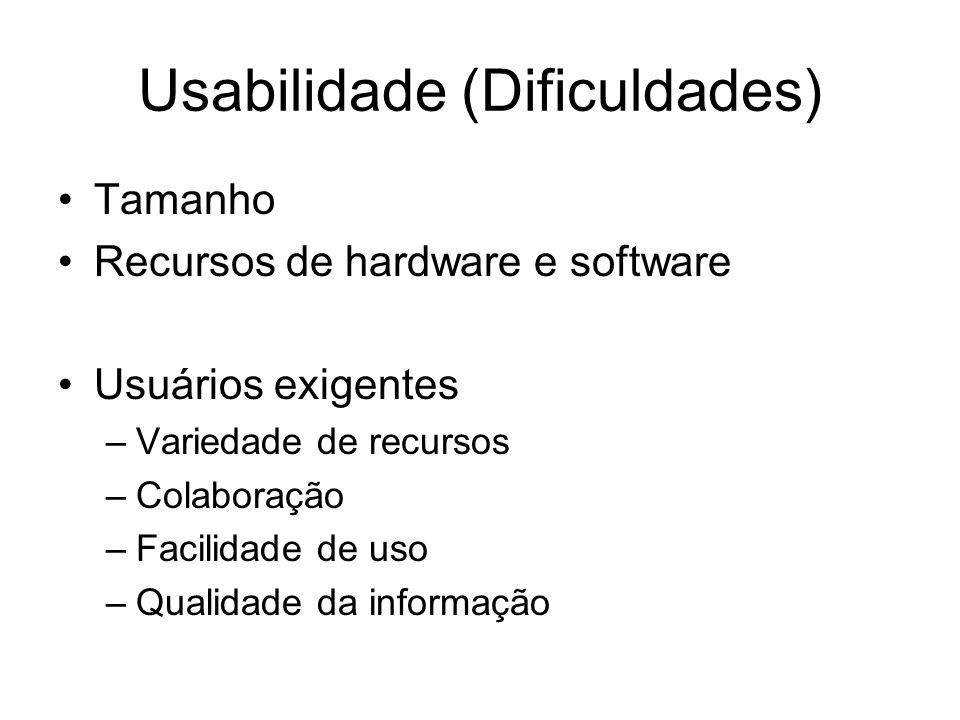 Usabilidade (Dificuldades) Tamanho Recursos de hardware e software Usuários exigentes –Variedade de recursos –Colaboração –Facilidade de uso –Qualidad