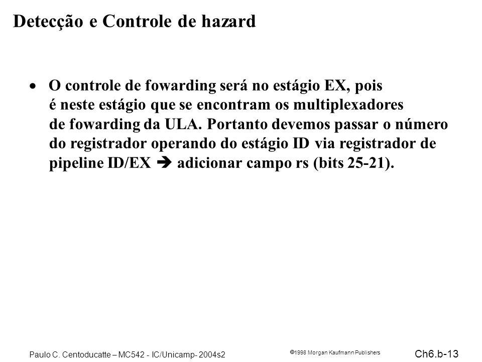 Ch6.b-13 1998 Morgan Kaufmann Publishers Paulo C. Centoducatte – MC542 - IC/Unicamp- 2004s2 Detecção e Controle de hazard O controle de fowarding será
