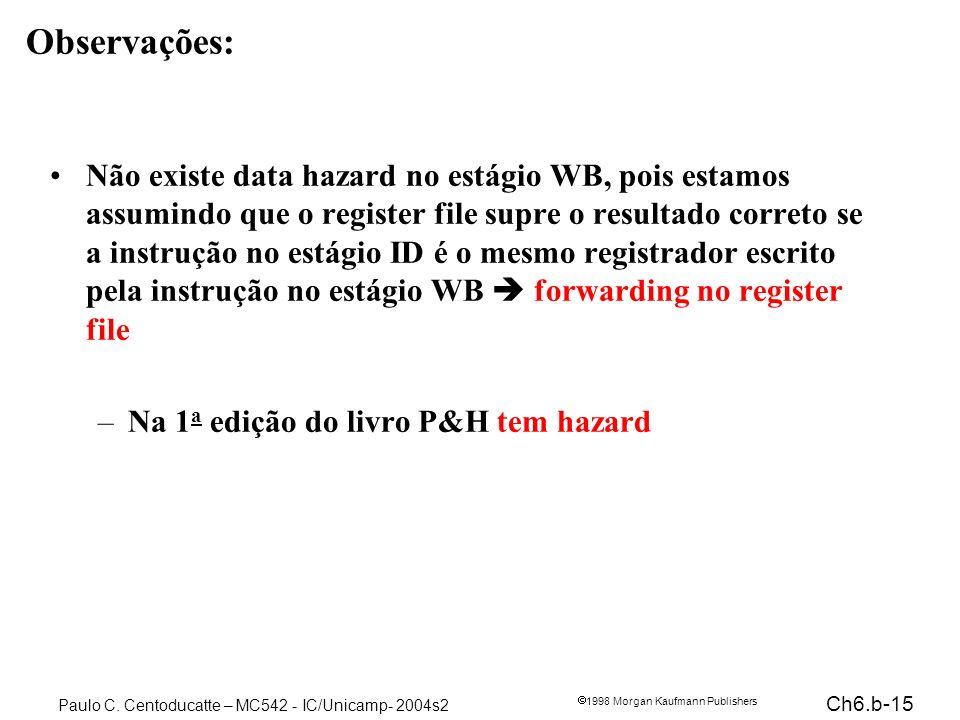 Ch6.b-15 1998 Morgan Kaufmann Publishers Paulo C. Centoducatte – MC542 - IC/Unicamp- 2004s2 Observações: Não existe data hazard no estágio WB, pois es
