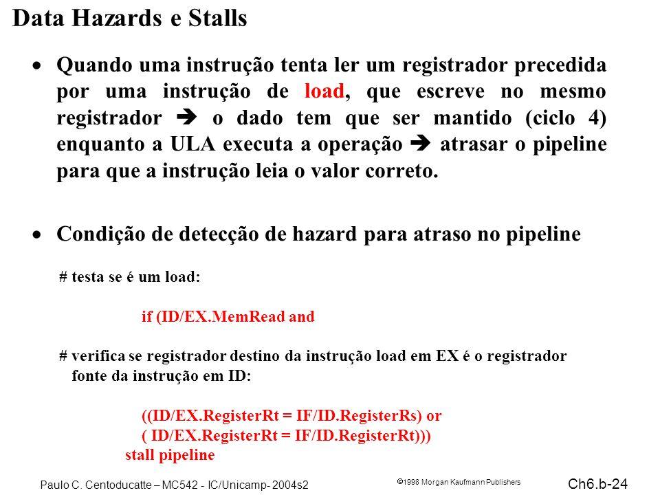 Ch6.b-24 1998 Morgan Kaufmann Publishers Paulo C. Centoducatte – MC542 - IC/Unicamp- 2004s2 Data Hazards e Stalls Quando uma instrução tenta ler um re