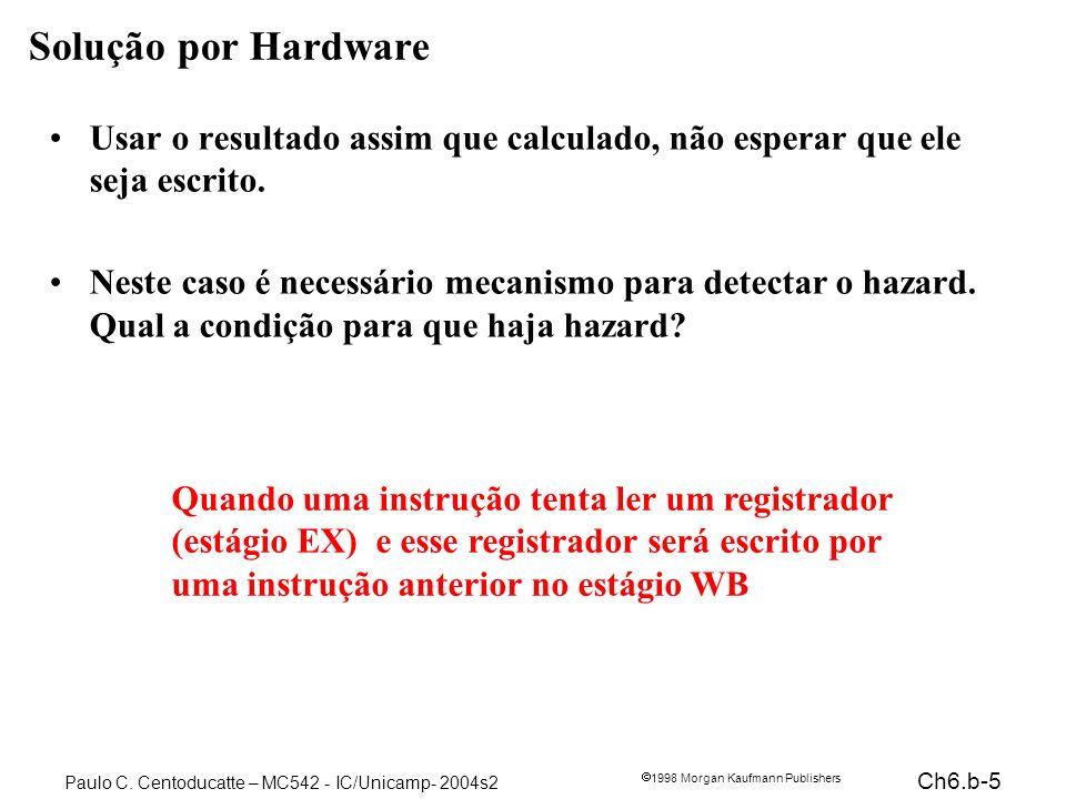 Ch6.b-5 1998 Morgan Kaufmann Publishers Paulo C. Centoducatte – MC542 - IC/Unicamp- 2004s2 Solução por Hardware Usar o resultado assim que calculado,