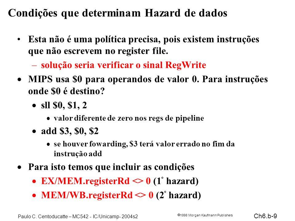 Ch6.b-9 1998 Morgan Kaufmann Publishers Paulo C. Centoducatte – MC542 - IC/Unicamp- 2004s2 Condições que determinam Hazard de dados Esta não é uma pol