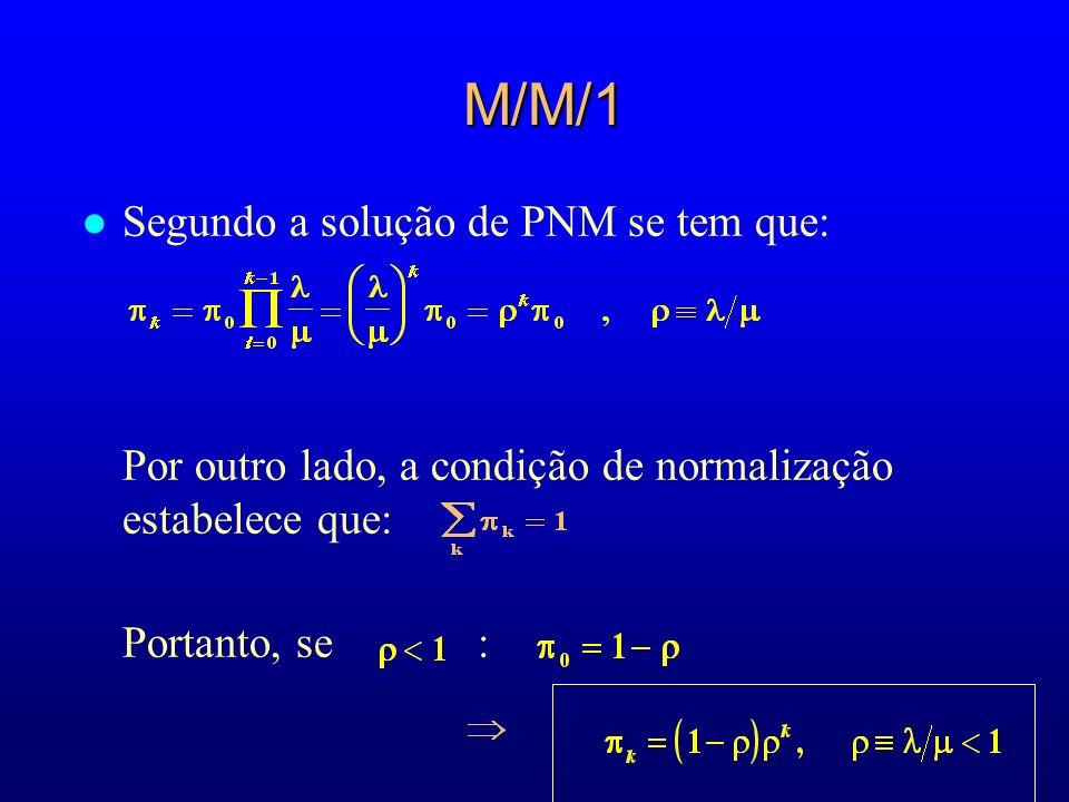 M/M/1 l Segundo a solução de PNM se tem que: Por outro lado, a condição de normalização estabelece que: Portanto, se :