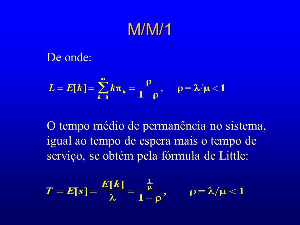 M/M/1 De onde: O tempo médio de permanência no sistema, igual ao tempo de espera mais o tempo de serviço, se obtém pela fórmula de Little:
