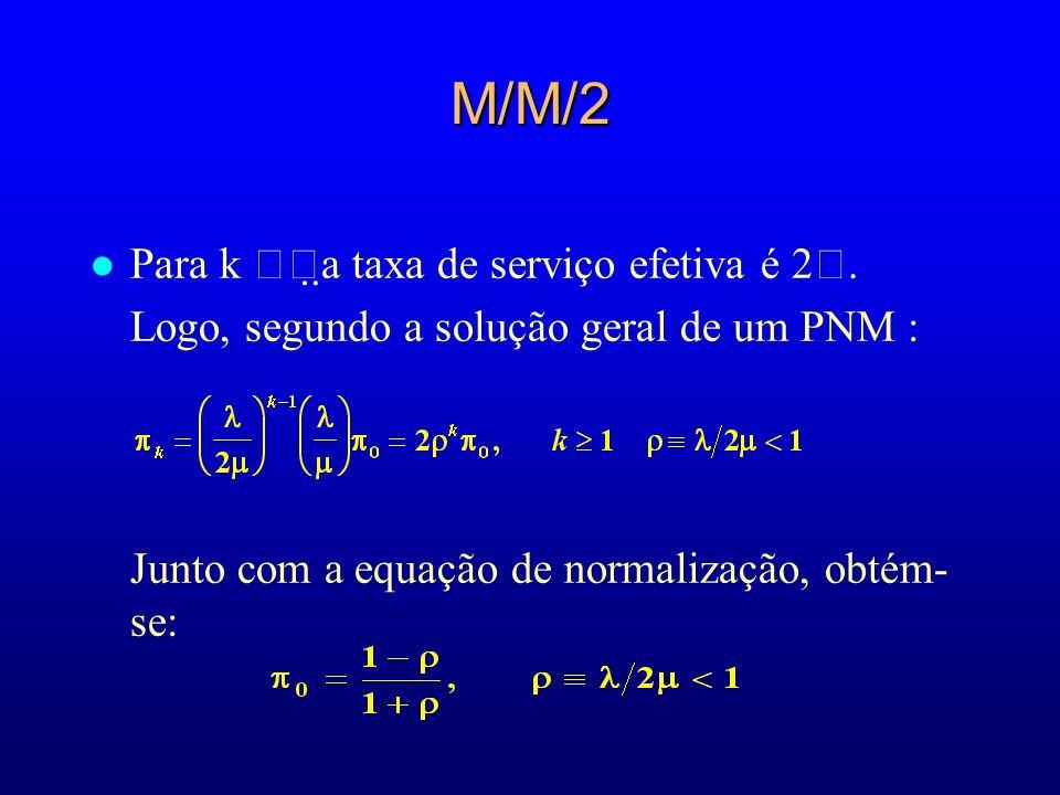 M/M/2 l Para k a taxa de serviço efetiva é 2. Logo, segundo a solução geral de um PNM : Junto com a equação de normalização, obtém- se: