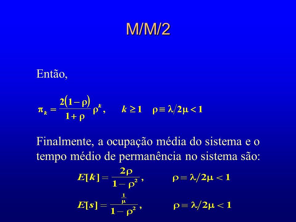 M/M/2 Então, Finalmente, a ocupação média do sistema e o tempo médio de permanência no sistema são: