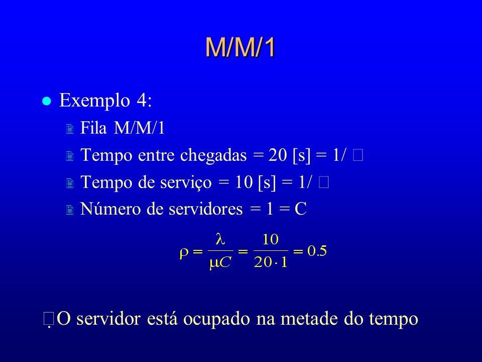 M/M/1 l Exemplo 4: 2 Fila M/M/1 2 Tempo entre chegadas = 20 [s] = 1/ 2 Tempo de serviço = 10 [s] = 1/ 2 Número de servidores = 1 = C O servidor está o