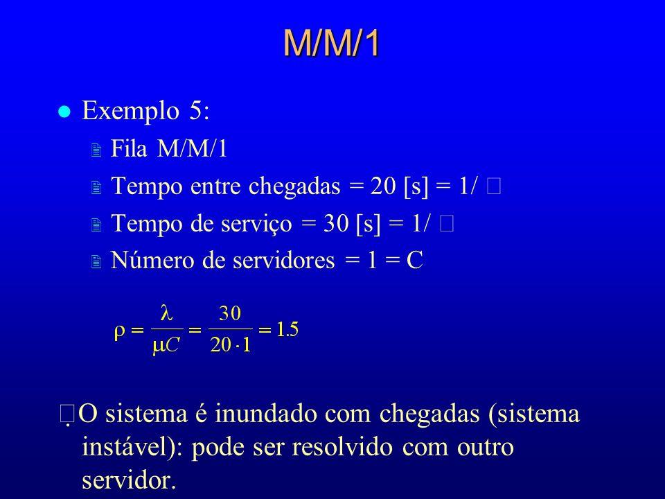 M/M/1 l Exemplo 5: 2 Fila M/M/1 2 Tempo entre chegadas = 20 [s] = 1/ 2 Tempo de serviço = 30 [s] = 1/ 2 Número de servidores = 1 = C O sistema é inund
