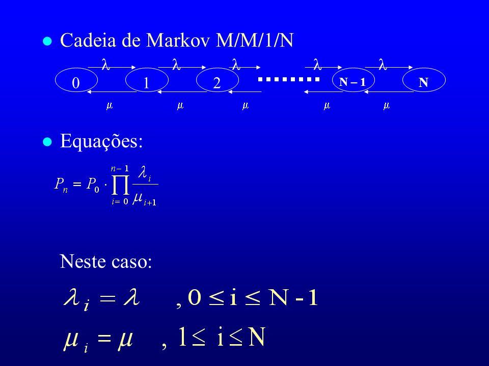 l Cadeia de Markov M/M/1/N l Equações: Neste caso: 01 N N – 1 2