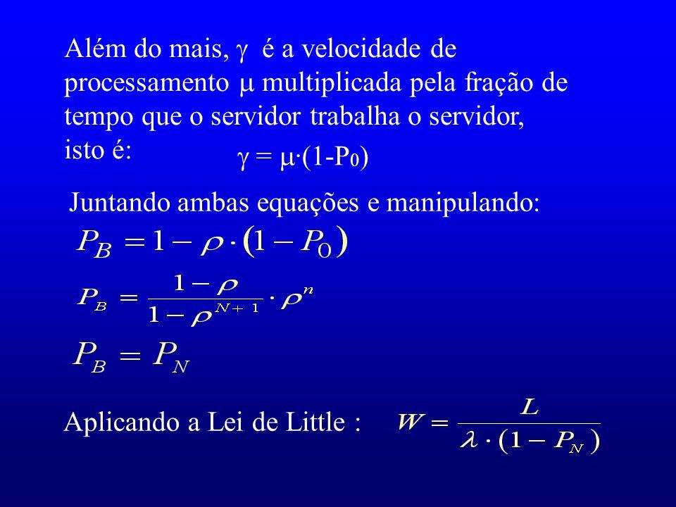 Juntando ambas equações e manipulando: Aplicando a Lei de Little : Além do mais, é a velocidade de processamento multiplicada pela fração de tempo que