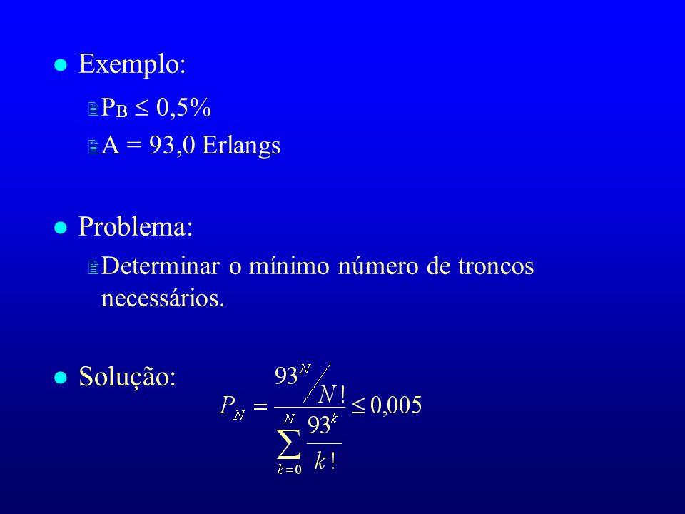 l Exemplo: P B 0,5% 2 A = 93,0 Erlangs l Problema: 2 Determinar o mínimo número de troncos necessários. l Solução: