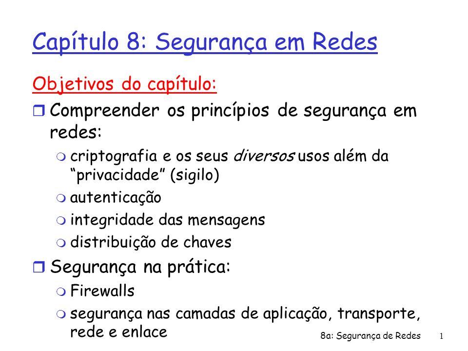 8a: Segurança de Redes1 Capítulo 8: Segurança em Redes Objetivos do capítulo: r Compreender os princípios de segurança em redes: m criptografia e os s