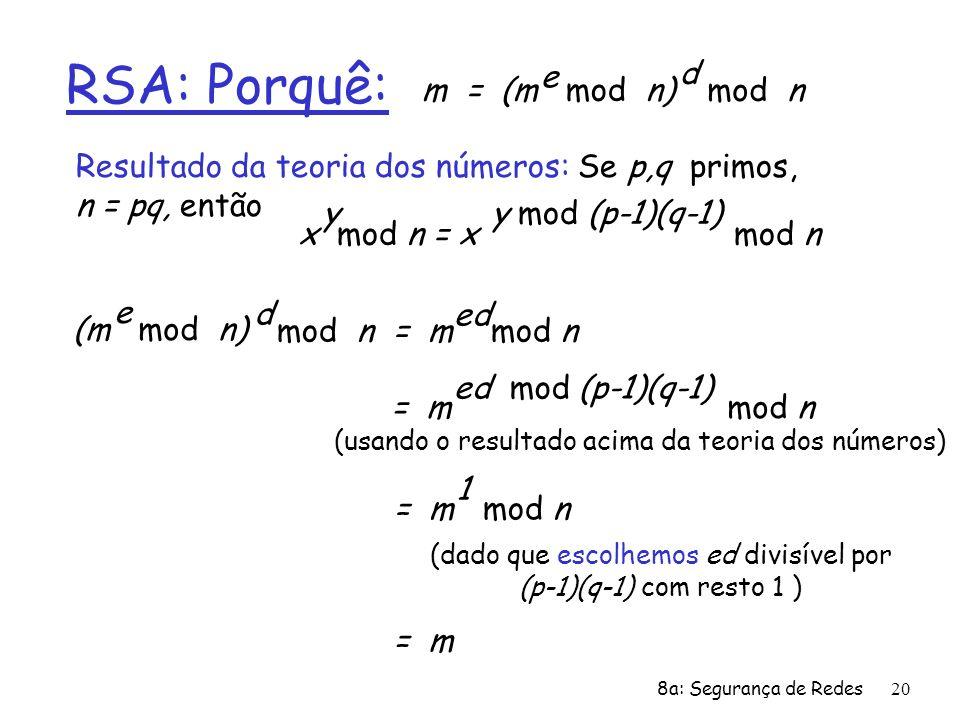 8a: Segurança de Redes20 RSA: Porquê: m = (m mod n) e mod n d (m mod n) e mod n = m mod n d ed Resultado da teoria dos números: Se p,q primos, n = pq,