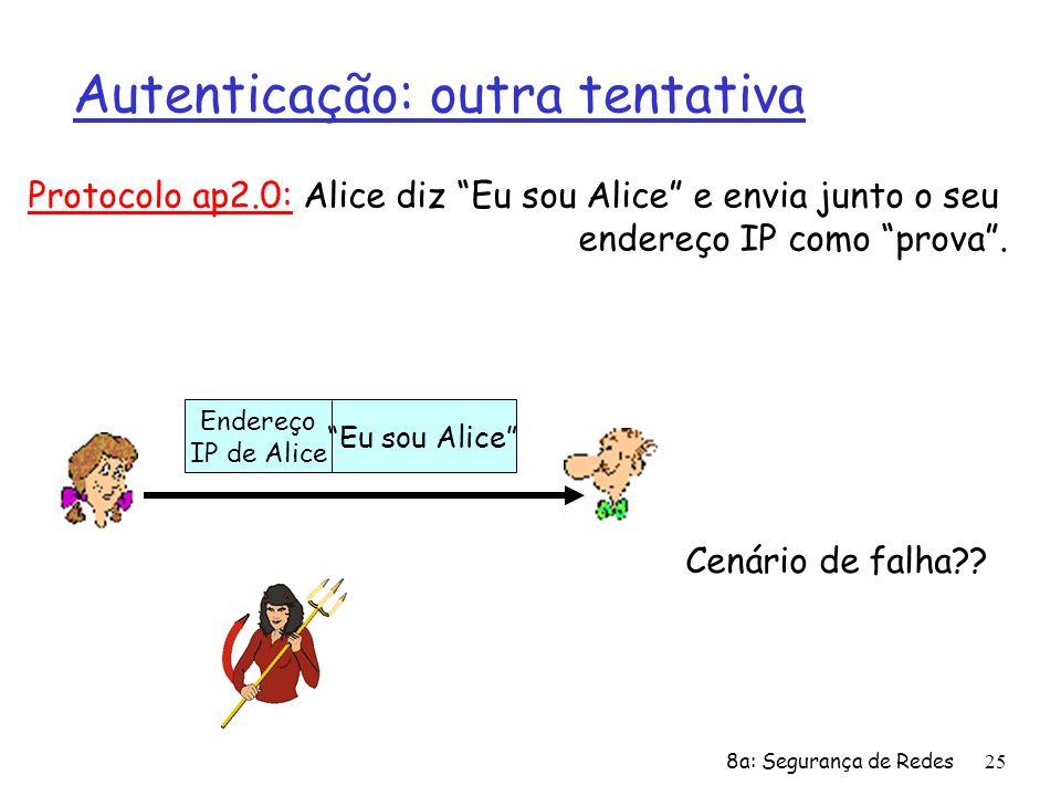 8a: Segurança de Redes25 Autenticação: outra tentativa Protocolo ap2.0: Alice diz Eu sou Alice e envia junto o seu endereço IP como prova. Cenário de