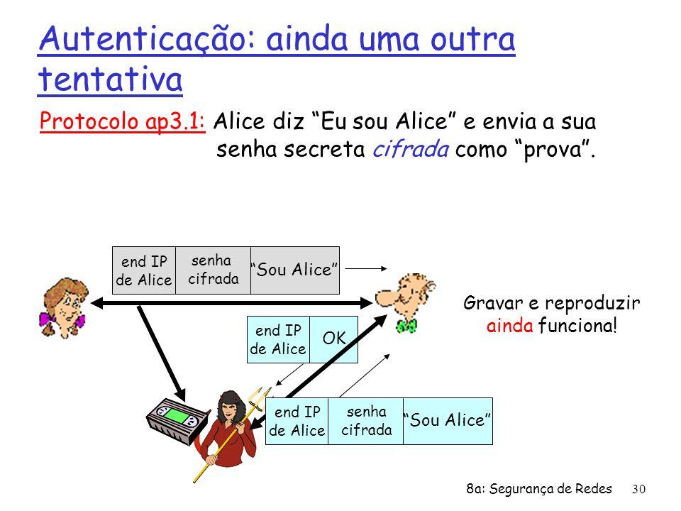 8a: Segurança de Redes30 Autenticação: ainda uma outra tentativa Protocolo ap3.1: Alice diz Eu sou Alice e envia a sua senha secreta cifrada como prov