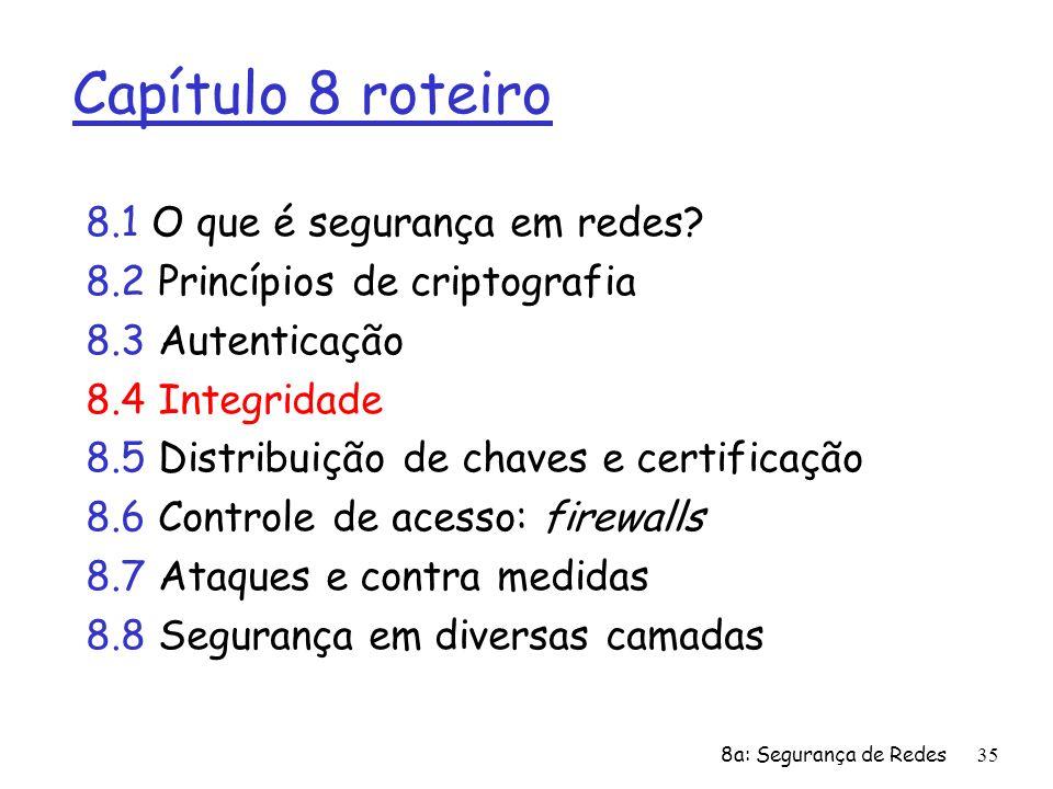 8a: Segurança de Redes35 Capítulo 8 roteiro 8.1 O que é segurança em redes? 8.2 Princípios de criptografia 8.3 Autenticação 8.4 Integridade 8.5 Distri