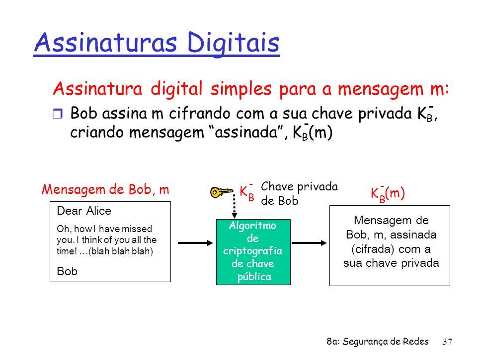 8a: Segurança de Redes37 Assinaturas Digitais Assinatura digital simples para a mensagem m: r Bob assina m cifrando com a sua chave privada K B, crian