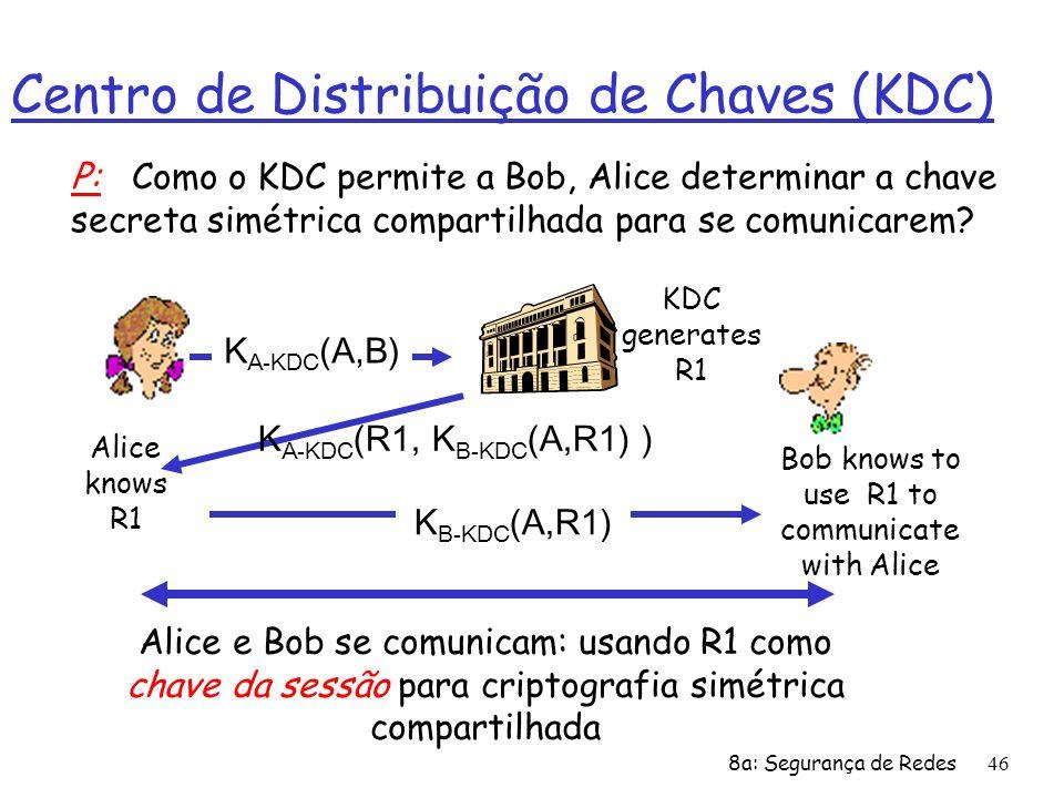8a: Segurança de Redes46 Centro de Distribuição de Chaves (KDC) Alice knows R1 Bob knows to use R1 to communicate with Alice Alice e Bob se comunicam: