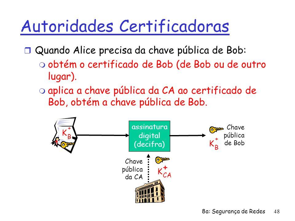 8a: Segurança de Redes48 Autoridades Certificadoras r Quando Alice precisa da chave pública de Bob: m obtém o certificado de Bob (de Bob ou de outro l