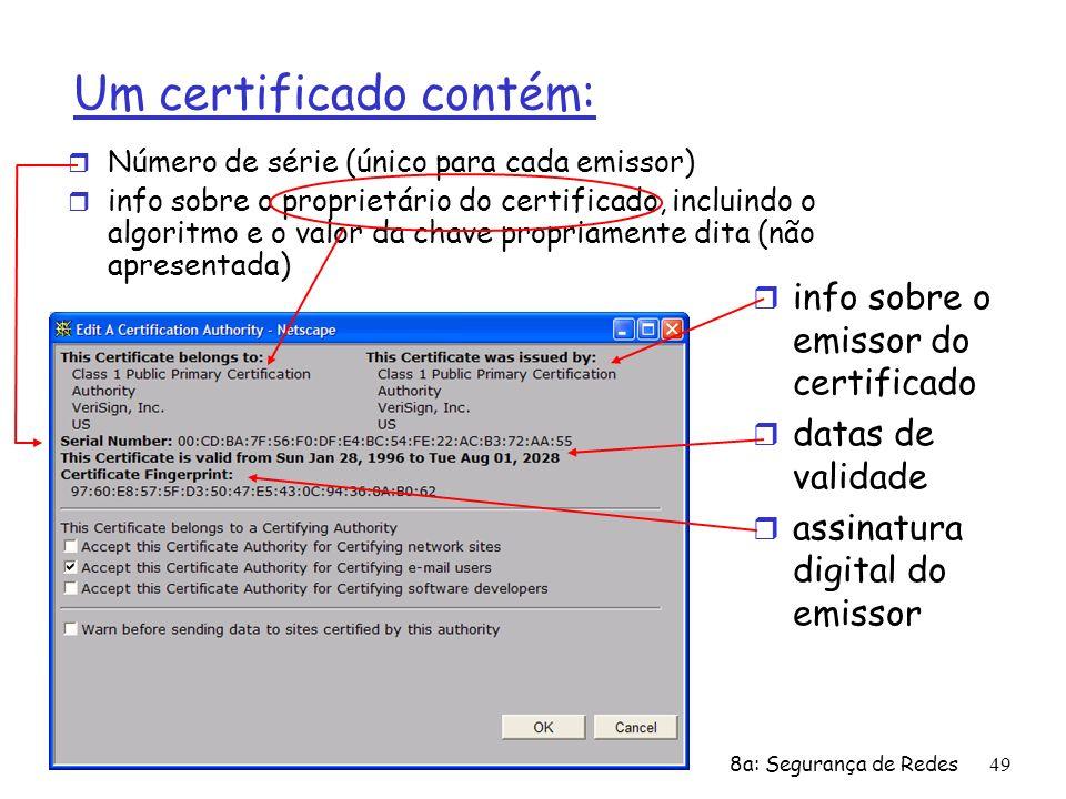 8a: Segurança de Redes49 Um certificado contém: r Número de série (único para cada emissor) r info sobre o proprietário do certificado, incluindo o al
