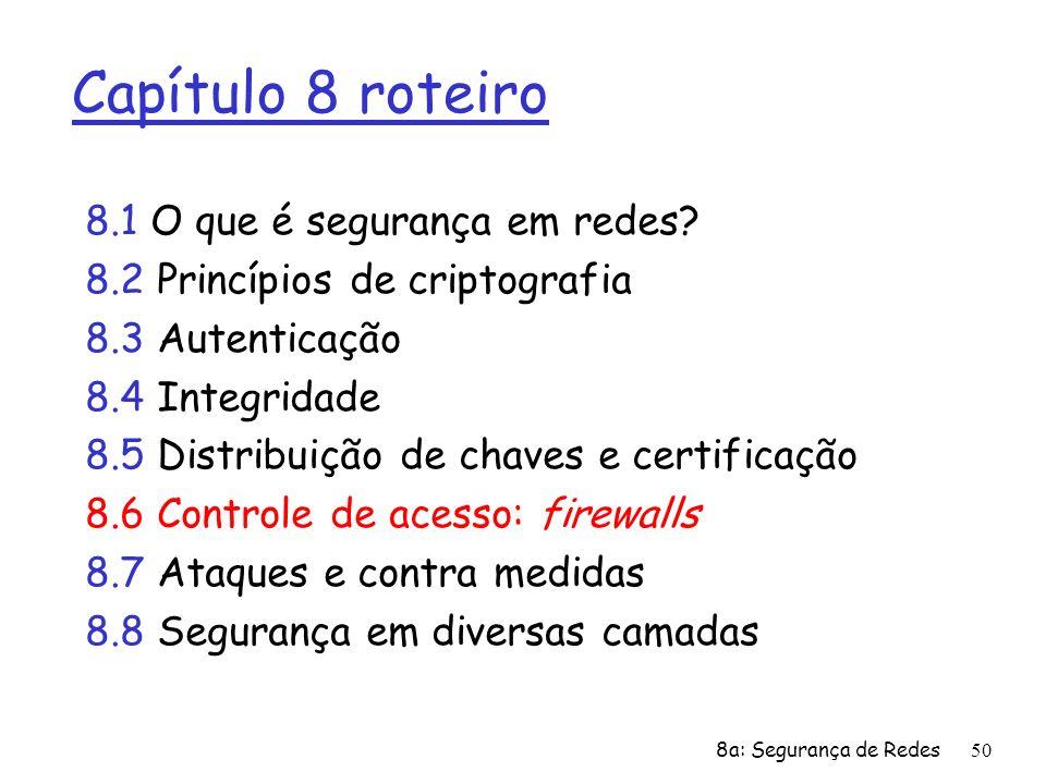 8a: Segurança de Redes50 Capítulo 8 roteiro 8.1 O que é segurança em redes? 8.2 Princípios de criptografia 8.3 Autenticação 8.4 Integridade 8.5 Distri