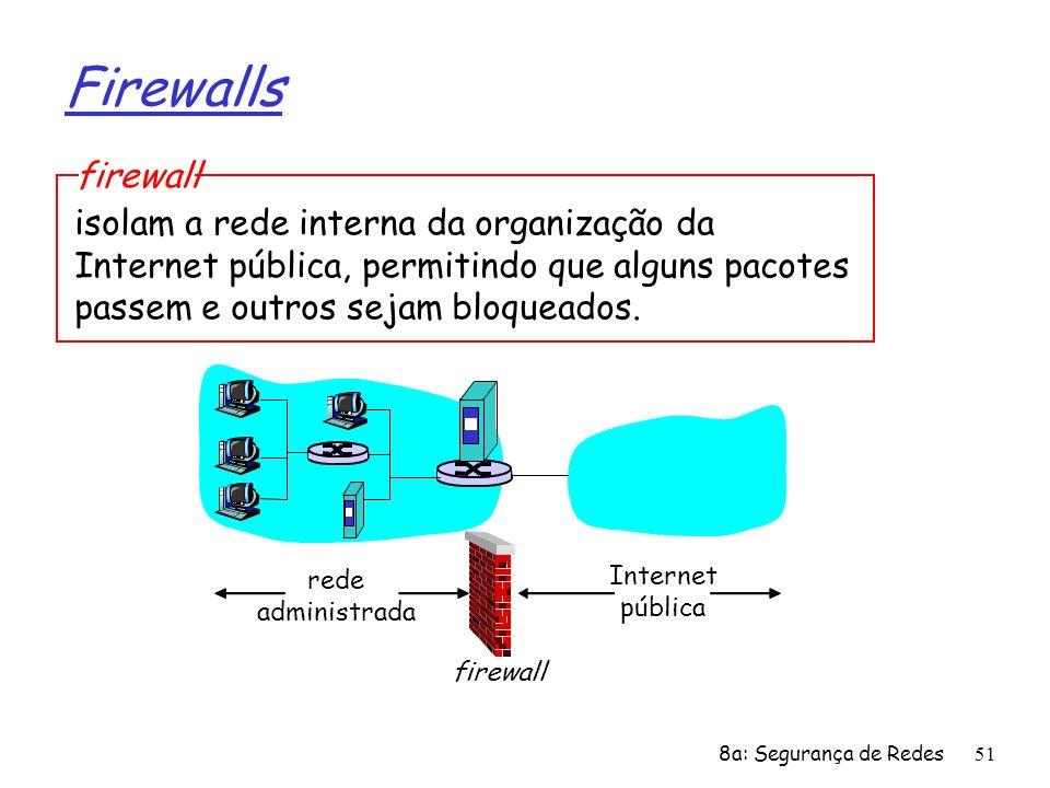 8a: Segurança de Redes51 Firewalls isolam a rede interna da organização da Internet pública, permitindo que alguns pacotes passem e outros sejam bloqu