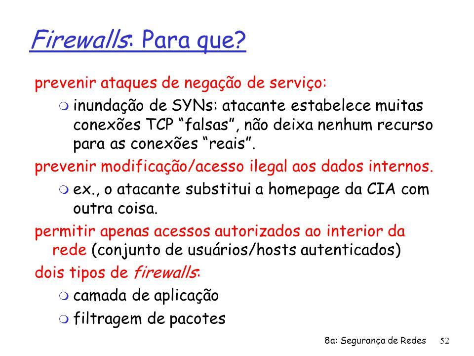 8a: Segurança de Redes52 Firewalls: Para que? prevenir ataques de negação de serviço: m inundação de SYNs: atacante estabelece muitas conexões TCP fal