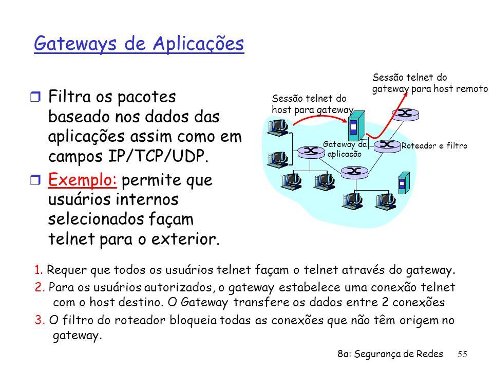 8a: Segurança de Redes55 Gateways de Aplicações r Filtra os pacotes baseado nos dados das aplicações assim como em campos IP/TCP/UDP. r Exemplo: permi