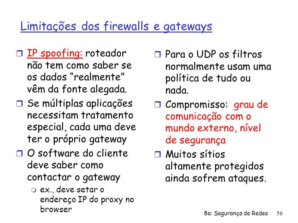 8a: Segurança de Redes56 Limitações dos firewalls e gateways r IP spoofing: roteador não tem como saber se os dados realmente vêm da fonte alegada. r