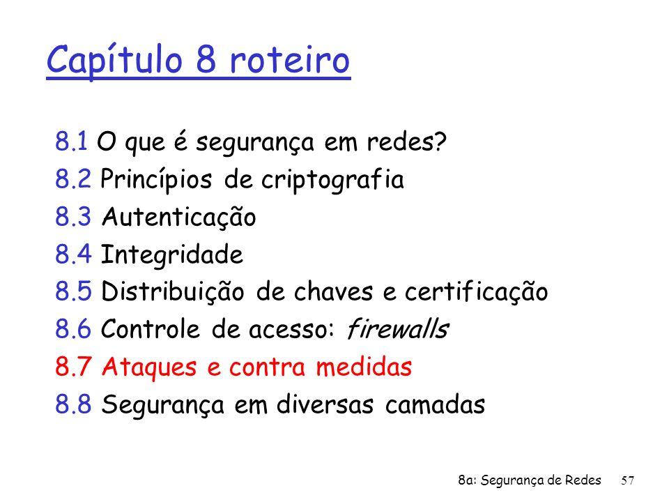 8a: Segurança de Redes57 Capítulo 8 roteiro 8.1 O que é segurança em redes? 8.2 Princípios de criptografia 8.3 Autenticação 8.4 Integridade 8.5 Distri