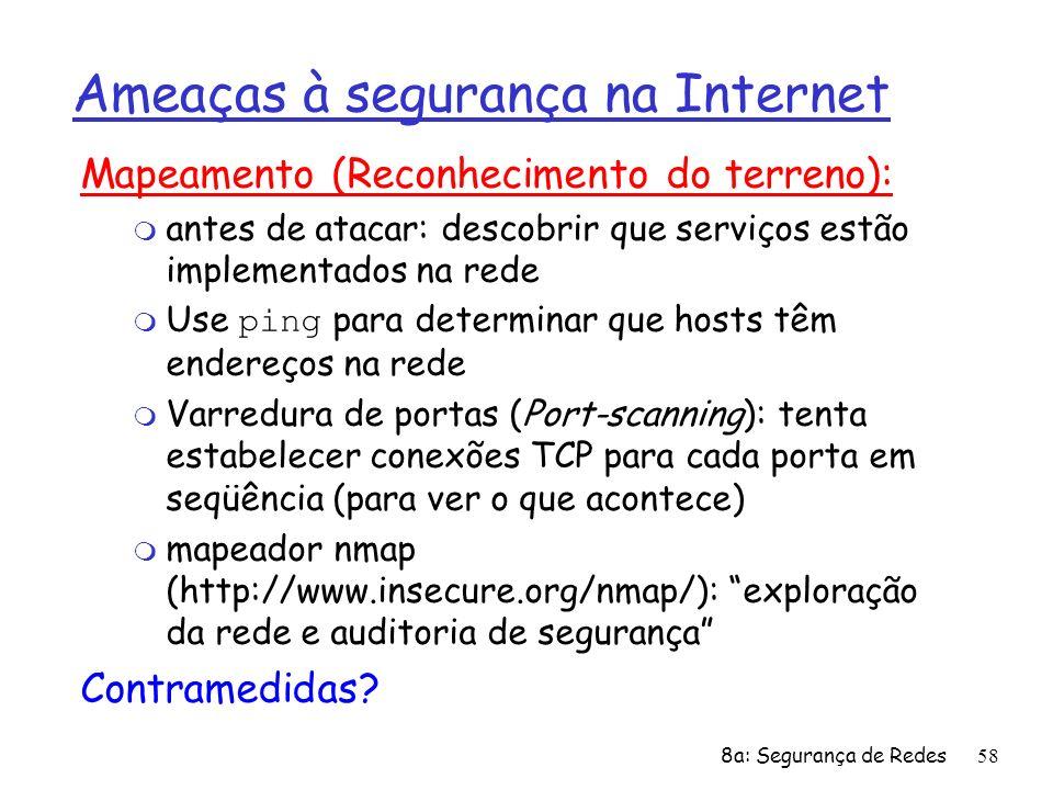 8a: Segurança de Redes58 Ameaças à segurança na Internet Mapeamento (Reconhecimento do terreno): m antes de atacar: descobrir que serviços estão imple