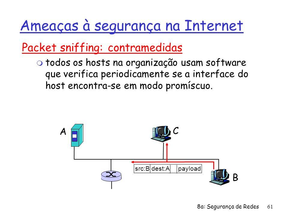 8a: Segurança de Redes61 Ameaças à segurança na Internet Packet sniffing: contramedidas m todos os hosts na organização usam software que verifica per