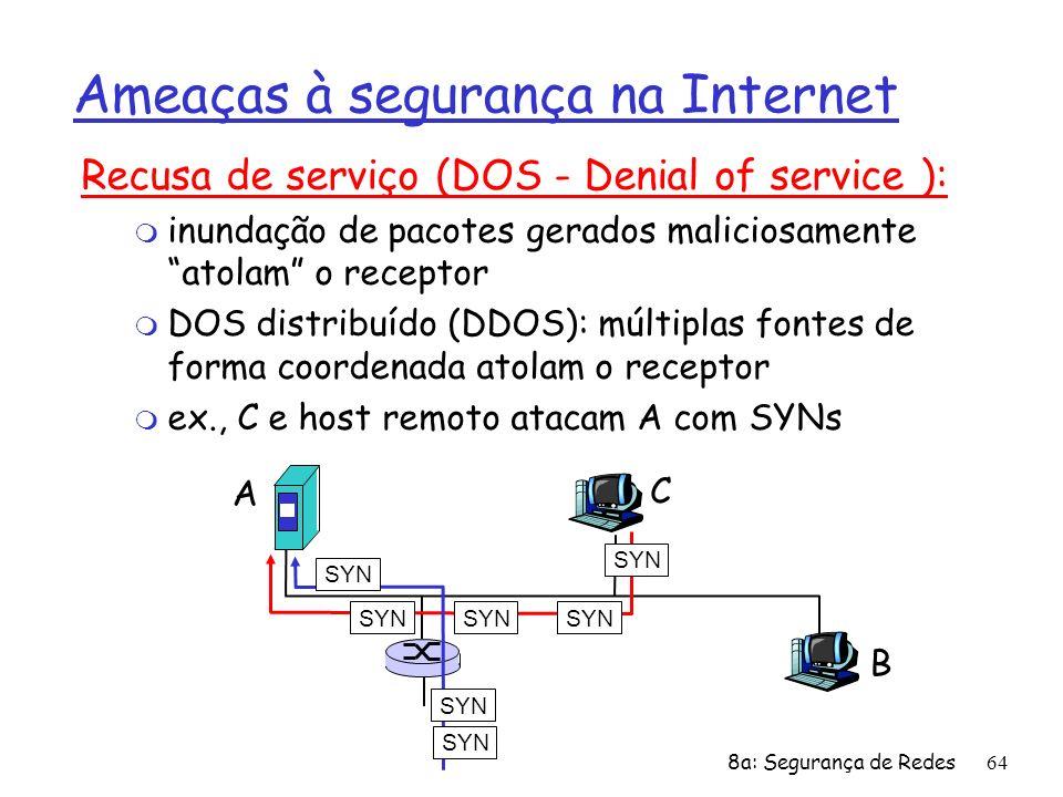 8a: Segurança de Redes64 Ameaças à segurança na Internet Recusa de serviço (DOS - Denial of service ): m inundação de pacotes gerados maliciosamente a