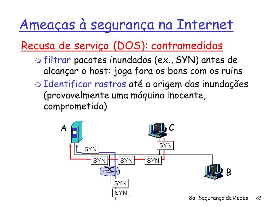 8a: Segurança de Redes65 Ameaças à segurança na Internet Recusa de serviço (DOS): contramedidas m filtrar pacotes inundados (ex., SYN) antes de alcanç