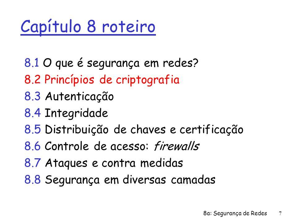 8a: Segurança de Redes7 Capítulo 8 roteiro 8.1 O que é segurança em redes? 8.2 Princípios de criptografia 8.3 Autenticação 8.4 Integridade 8.5 Distrib