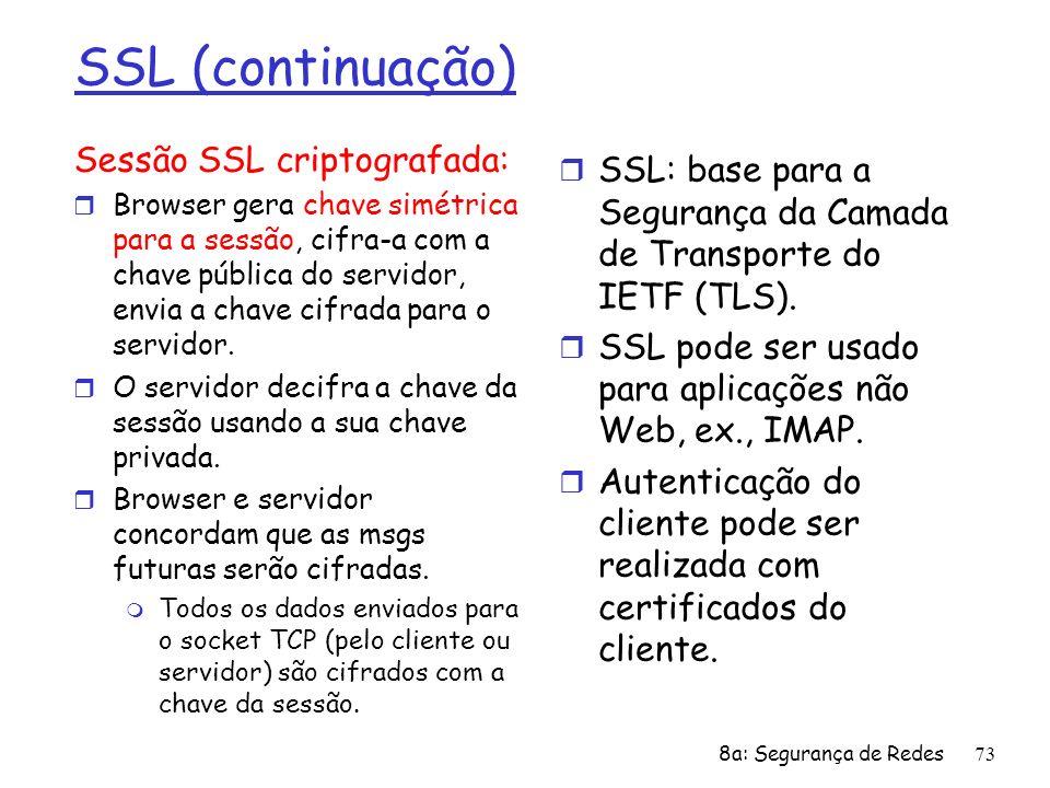 8a: Segurança de Redes73 SSL (continuação) Sessão SSL criptografada: r Browser gera chave simétrica para a sessão, cifra-a com a chave pública do serv
