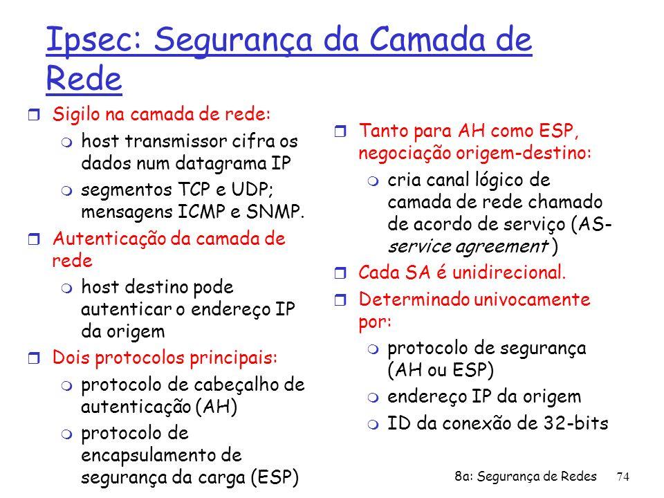 8a: Segurança de Redes74 Ipsec: Segurança da Camada de Rede r Sigilo na camada de rede: m host transmissor cifra os dados num datagrama IP m segmentos