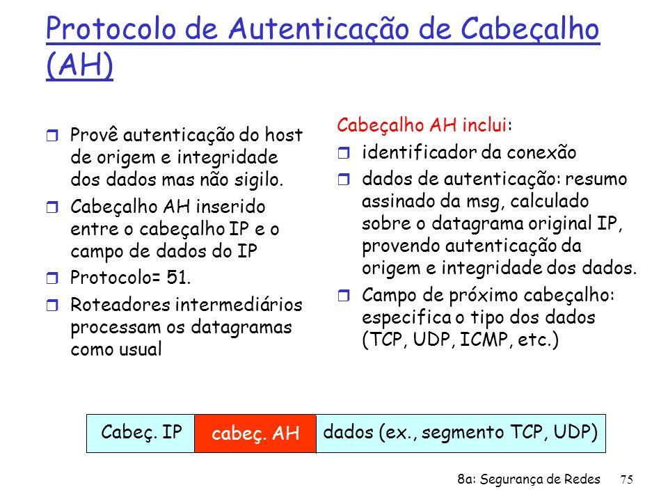 8a: Segurança de Redes75 Protocolo de Autenticação de Cabeçalho (AH) r Provê autenticação do host de origem e integridade dos dados mas não sigilo. r