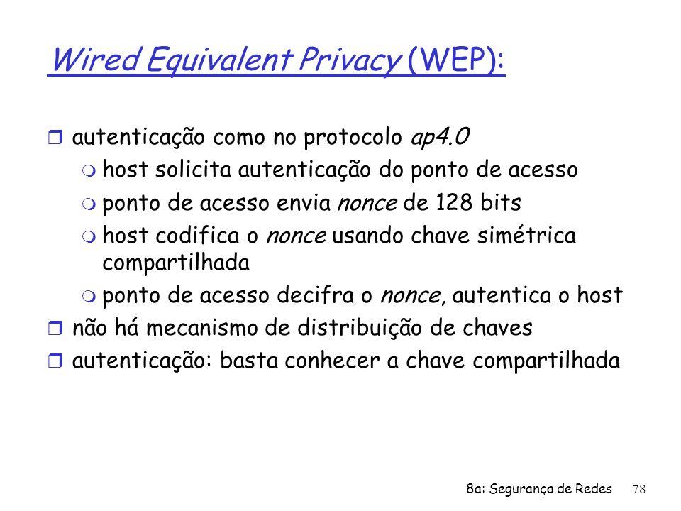 8a: Segurança de Redes78 Wired Equivalent Privacy (WEP): r autenticação como no protocolo ap4.0 m host solicita autenticação do ponto de acesso m pont