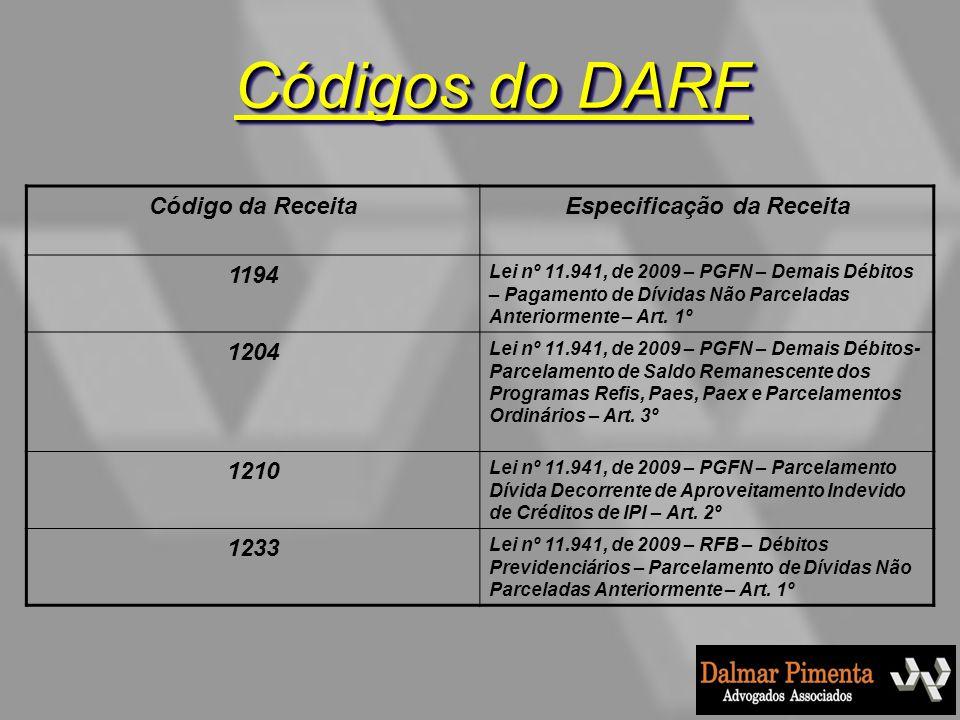 Código da ReceitaEspecificação da Receita 1194 Lei nº 11.941, de 2009 – PGFN – Demais Débitos – Pagamento de Dívidas Não Parceladas Anteriormente – Ar