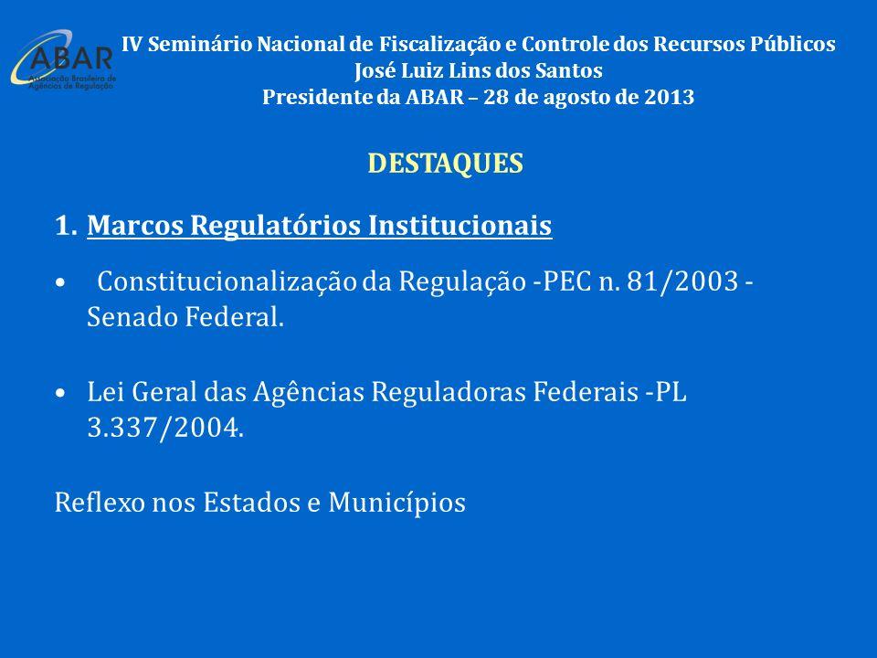 DESTAQUES 1.Marcos Regulatórios Institucionais Constitucionalização da Regulação -PEC n.