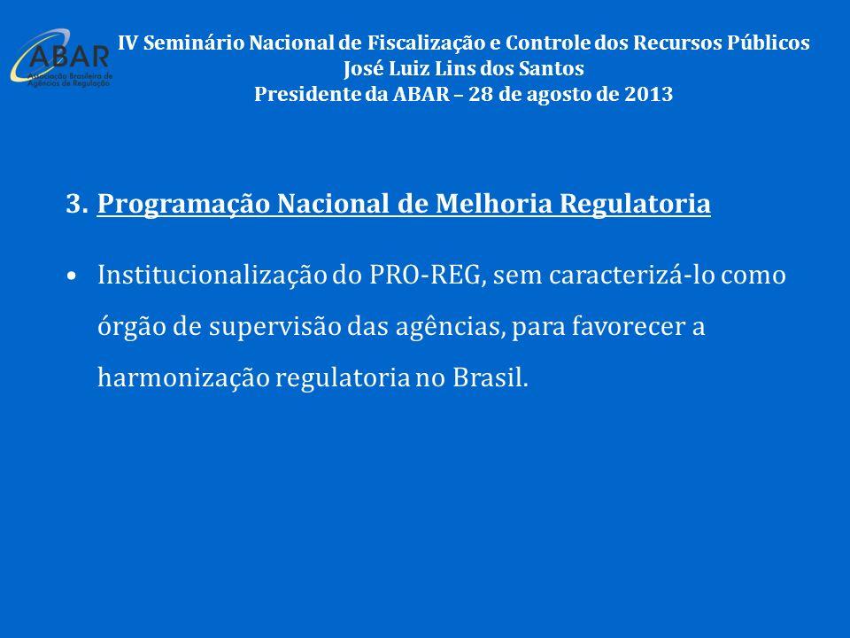 3.Programação Nacional de Melhoria Regulatoria Institucionalização do PRO-REG, sem caracterizá-lo como órgão de supervisão das agências, para favorecer a harmonização regulatoria no Brasil.