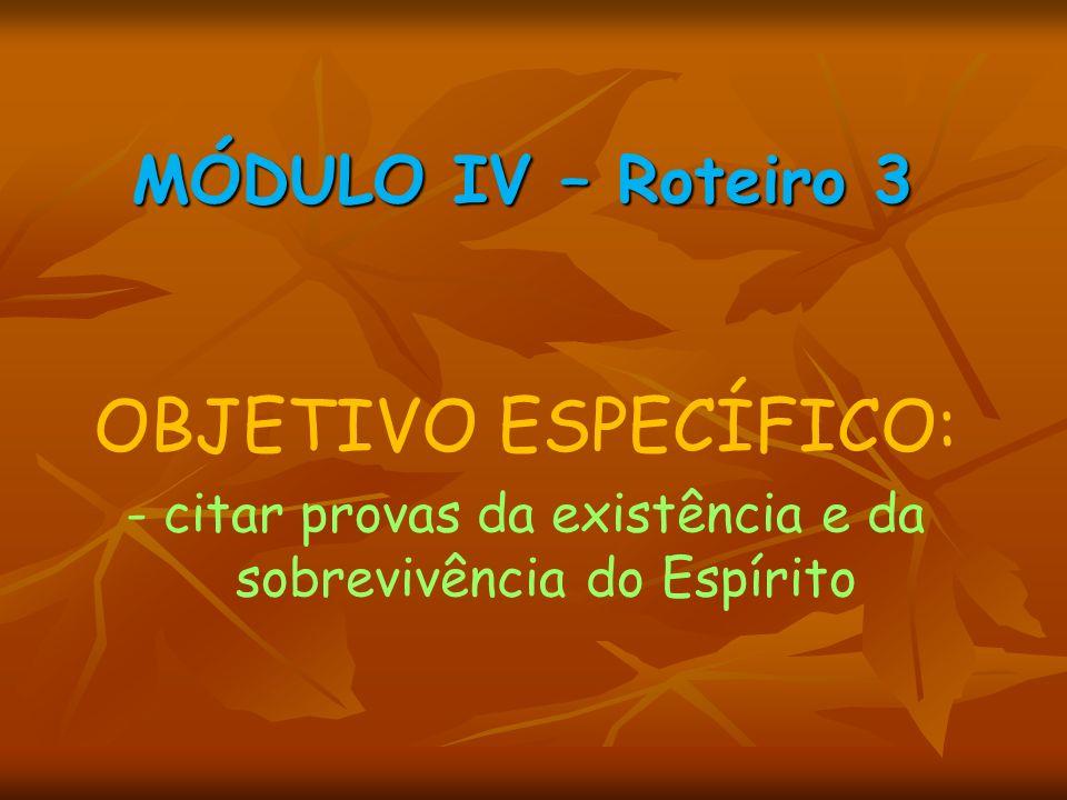 MÓDULO IV – Roteiro 3 OBJETIVO ESPECÍFICO: - citar provas da existência e da sobrevivência do Espírito