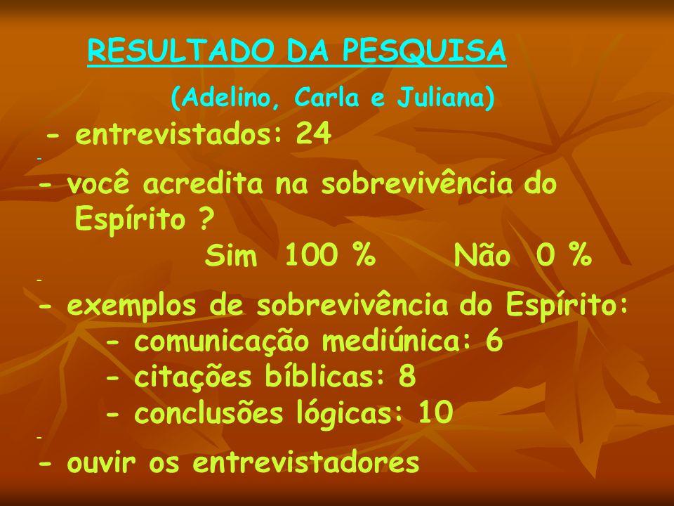 R ESULTADO DA PESQUISA (Adelino, Carla e Juliana) - entrevistados: 24 - - você acredita na sobrevivência do Espírito ? Sim 100 % Não 0 % - - exemplos